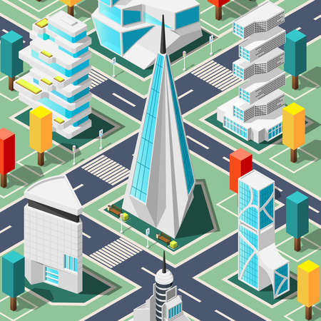 Futuristic city top view background with elements and architecture elements and buildings of different shapes isometric vector illustration
