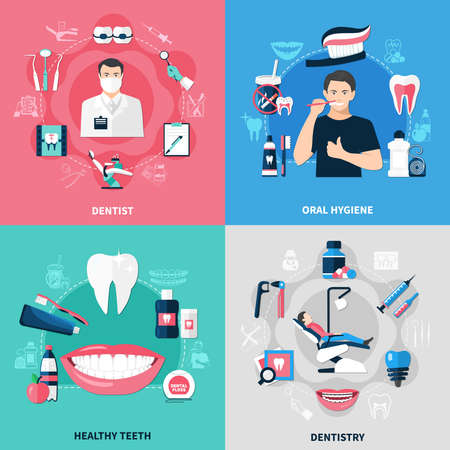 Dental 2x2 design concept set of oral hygiene healthy teeth dentist and dentistry square compositions flat vector illustration