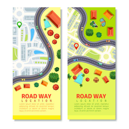 Roadway top view vertical banners with transport location on city map, residential houses isolated vector illustration