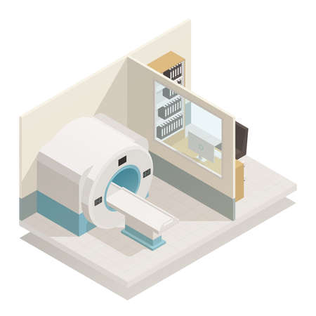 Medical diagnostic equipment isometric composition with mri magnetic resonance imaging scanner radiology unit vector illustration