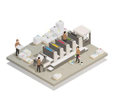 Printing house facility offset production line industrial equipment with operating personnel isometric composition vector illustration