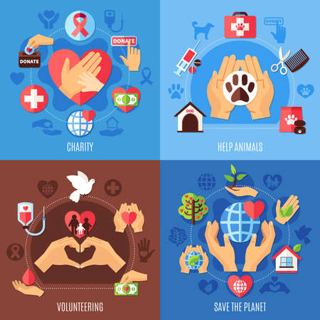 Charity design concept with compositions of flat images with human hands showing love and support with icons vector illustration