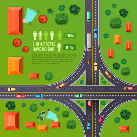 Crossroad with marking top view design with vehicles, buildings, trees, infographic elements on green background vector illustration Vettoriali