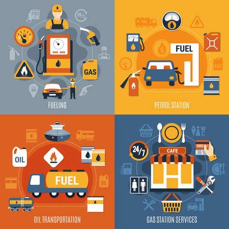 Four squares fuel pump concept set with fueling petrol station oil transportation and gas station services descriptions vector illustration