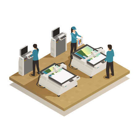 Computerized large format digital press equipment and operators in modern printing house facility isometric composition vector illustration
