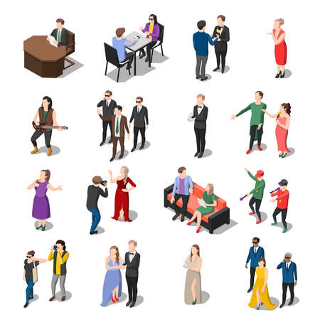 Talents and awards tv shows isometric icons set of isolated human characters of actors hosts and celebrities vector illustration