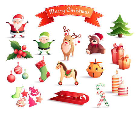 Set of cartoon icons with christmas decorations including santa, year tree, gifts, animals, candles isolated vector illustration