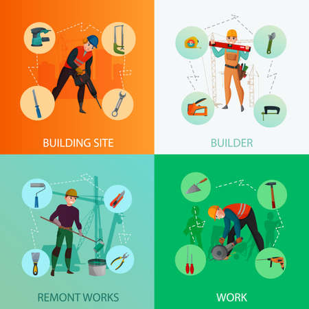 Builders design concept including construction site, repair works with professional tools and materials isolated vector illustration