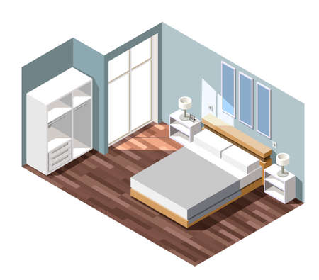 Bedroom interior with grey walls, night tables with lamps near bed, white wardrobe isometric composition vector illustration