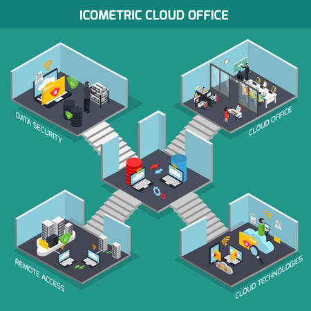 Cloud office isometric composition with data security symbols vector illustration