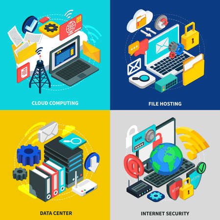 Cloud technology 2x2 design concept with square icons illustrated wireless transmission storage and access to cloud data isometric vector illustration Vektoros illusztráció