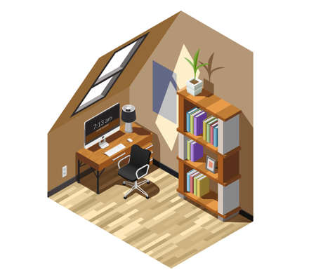 Home workplace interior in beige color with computer desk, bookcase, window in roof isometric composition vector illustration
