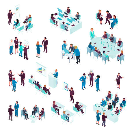 Business education isometric set with coaches training people individually and in groups isolated vector illustration Vetores