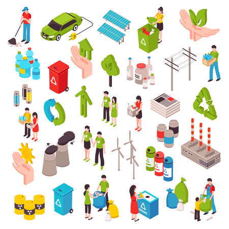 Ecology isometric set with people involved in cleaning environment waste bags solar panels wind turbines isolated vector illustration