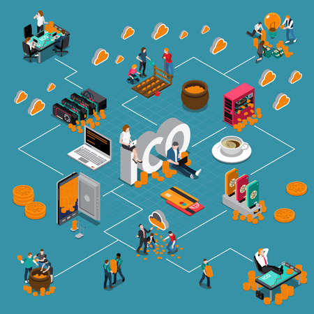 Blockchain ico isometric flowchart with virtual account, investment, banking cards, computer equipment on blue background vector illustration