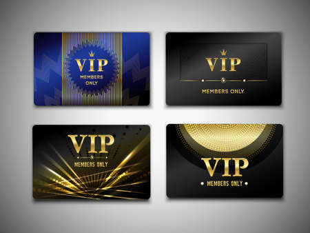 Vip cards design template on black background with inscription member only, golden geometric elements isolated vector illustration