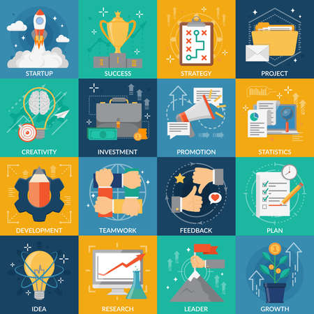 Development square icons set of idea strategy research plan investment startup project success flat elements vector illustration