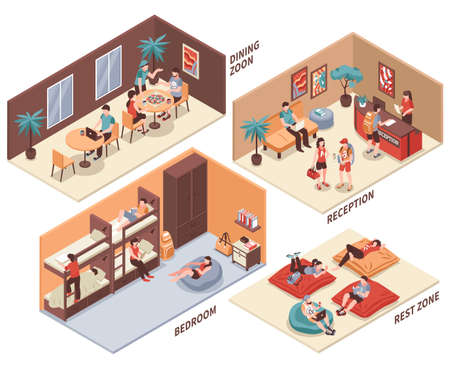 Hostel rooms with guests isometric set with dining hall, reception, bedroom, rest zone isolated vector illustration