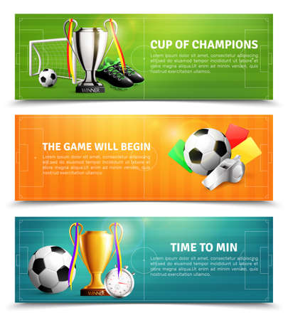 Soccer horizontal banners set with sports equipment, penalty cards, trophy isolated on football field background vector illustration