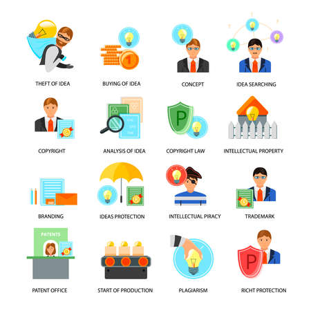Intellectual property flat icons collection with ideas rights protection trademarks copyright laws patent office isolated vector illustration Vecteurs
