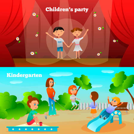 Kindergarten characters compositions with performance of girl and boy and kids on playground isolated vector illustration