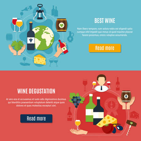 Best wine and degustation horizontal banners set on colorful background flat isolated vector illustration