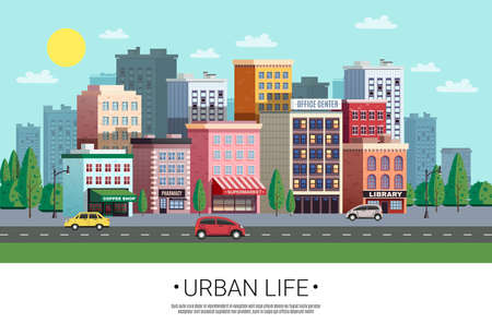 Town shopping area street view with colorful houses trees cars and roadside green lawn vector illustration