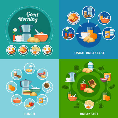 Various breakfast and lunch dishes and drinks 2x2 icons set isolated on colorful background flat vector illustration