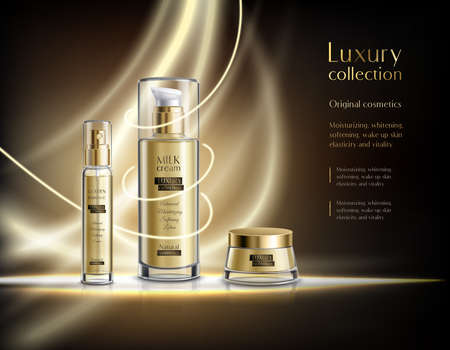 Luxury cosmetics realistic advertisement poster with glowing golden lotion dispenser and cream jar dark background vector illustration