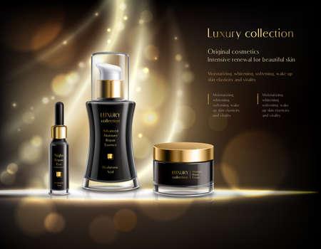 Luxury cosmetics realistic advertisement poster with black lotion dispenser cream jar golden bubbles dark background vector illustration Vettoriali