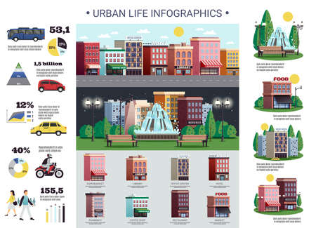 Urban life infrastructure elements colorful infographic poster with public and personal transport diagrams population housing vector illustration