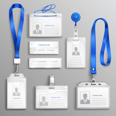 Clear plastic badges id cards holders collection with blue neck lanyards and retractable reel clip realistic vector illustration Vetores