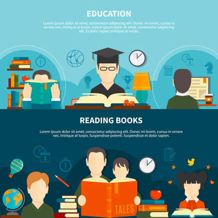 Horizontal banners with reading books and educational literature isolated on light and dark background vector illustration