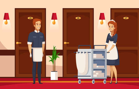 Hotel staff cartoon composition with cleaner and chambermaid engaged in performance of service duties vector illustration