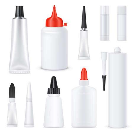 Glue black red white nozzles on white blank bottles tubes sticks realistic templates set isolated vector illustration Vektorgrafik