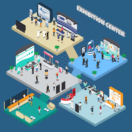 Multistory exhibition center isometric composition on blue background with exposition stands, business people, vector illustration Vektorgrafik