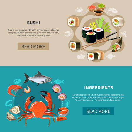 Two colored and flat sushi banner set with sushi and ingredients descriptions and read more buttons vector illustration Ilustração Vetorial