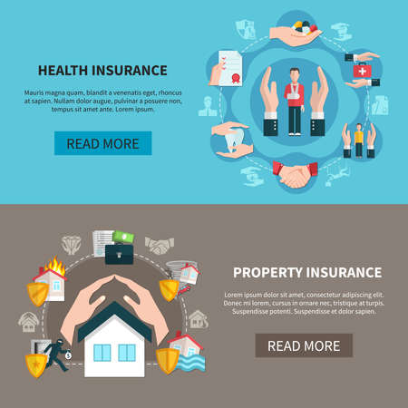 Horizontal banners with insurance of medical care and property against fire, theft and flood isolated vector illustration