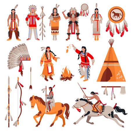 American indians decorative icons set with national attributes of clothes and elements of tribal culture cartoon vector illustration