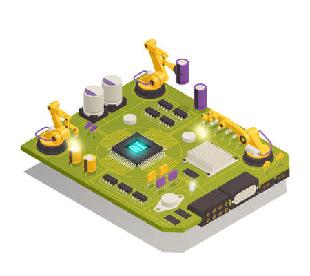 Intelligent manufacturing isometric composition with robotic hands assembling semiconductor electronic components on printed circuit board vector illustration
