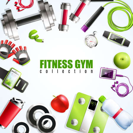 Fitness gym realistic set with equipment and accessories symbols vector illustration Vector Illustratie