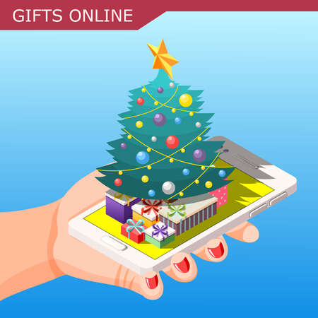 Christmas gifts online isometric composition on blue background with presents, year tree, female hand, smartphone vector illustration