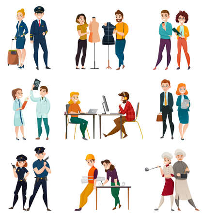Different professions set of isolated doodle style human characters representing different profession in appropriate uniform vector illustration