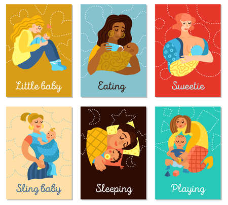 Motherhood set of vertical cards with women and little babies during playing, eating, sleeping, isolated vector illustration