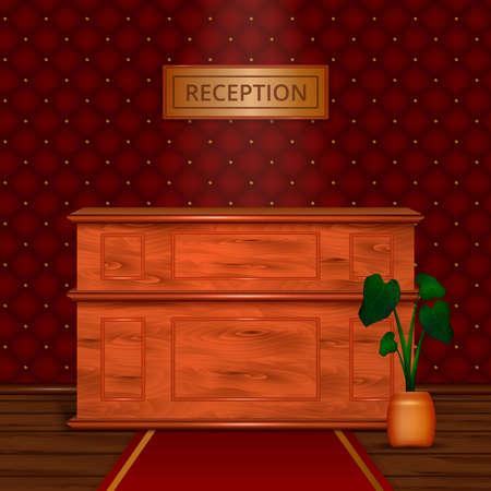 Luxury hotel reception wooden front desk in antiek style interior with dark bordeaux wallpaper realistic vector illustration