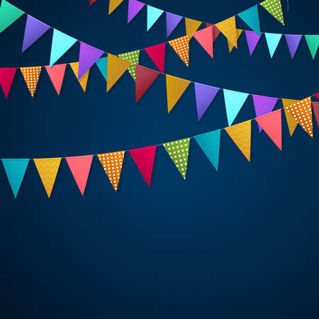 Realistic holiday garlands from triangle colorful flags hanging on string on dark background 3d vector illustration Vettoriali
