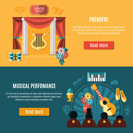 Theatre banner set with premiere and musical performance headline and read more buttons vector illustration