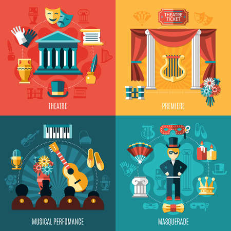 Four squares theatre icon set with premiere musical performance and masquerade descriptions vector illustration