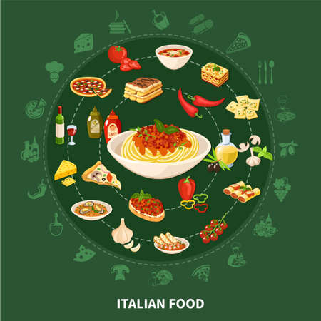 Italian cuisine round set of popular dishes with stuffed cannelloni minestrone soup pasta with mussel pizza ravioli tiramisu flat icons vector illustration