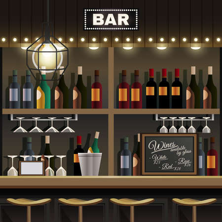 Cafe restaurant pub bar realistic interior detail with wine liquor bottles display shelves and counter stools vector illustration
